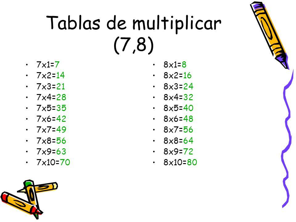 Tablas de multiplicar (7,8)