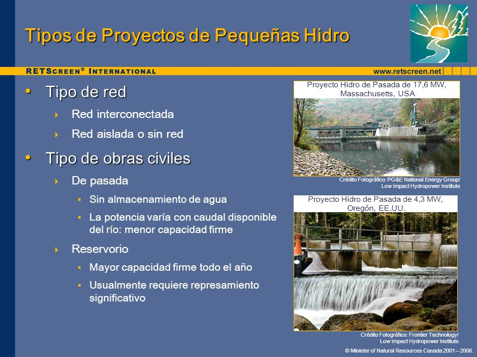 Tipos de Proyectos de Pequeñas Hidro