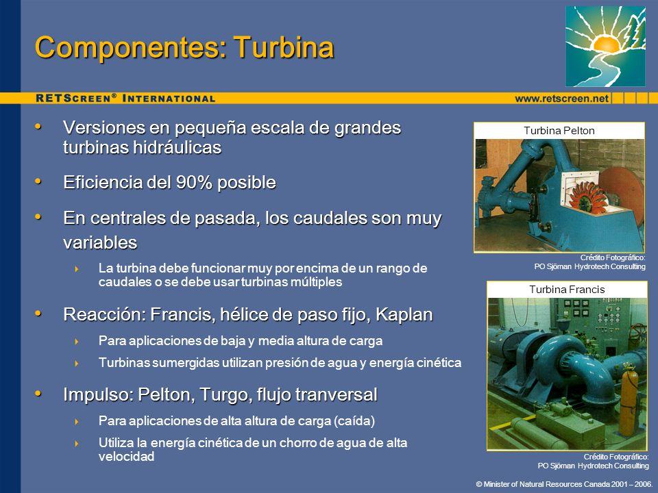 Componentes: Turbina Versiones en pequeña escala de grandes turbinas hidráulicas. Eficiencia del 90% posible.