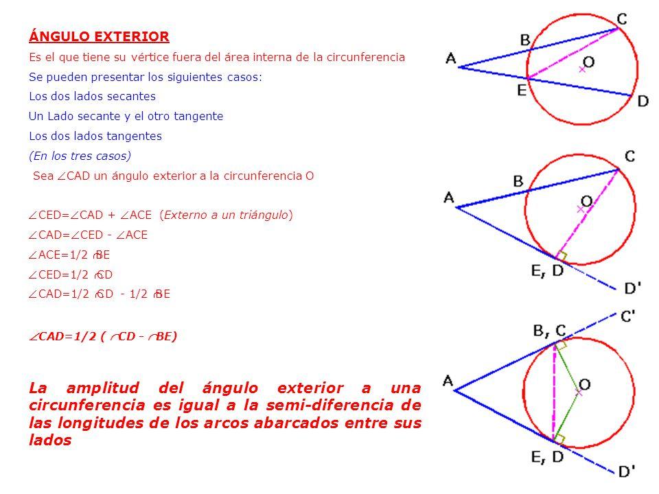 Circunferencia ppt video online descargar for Exterior tangente y secante