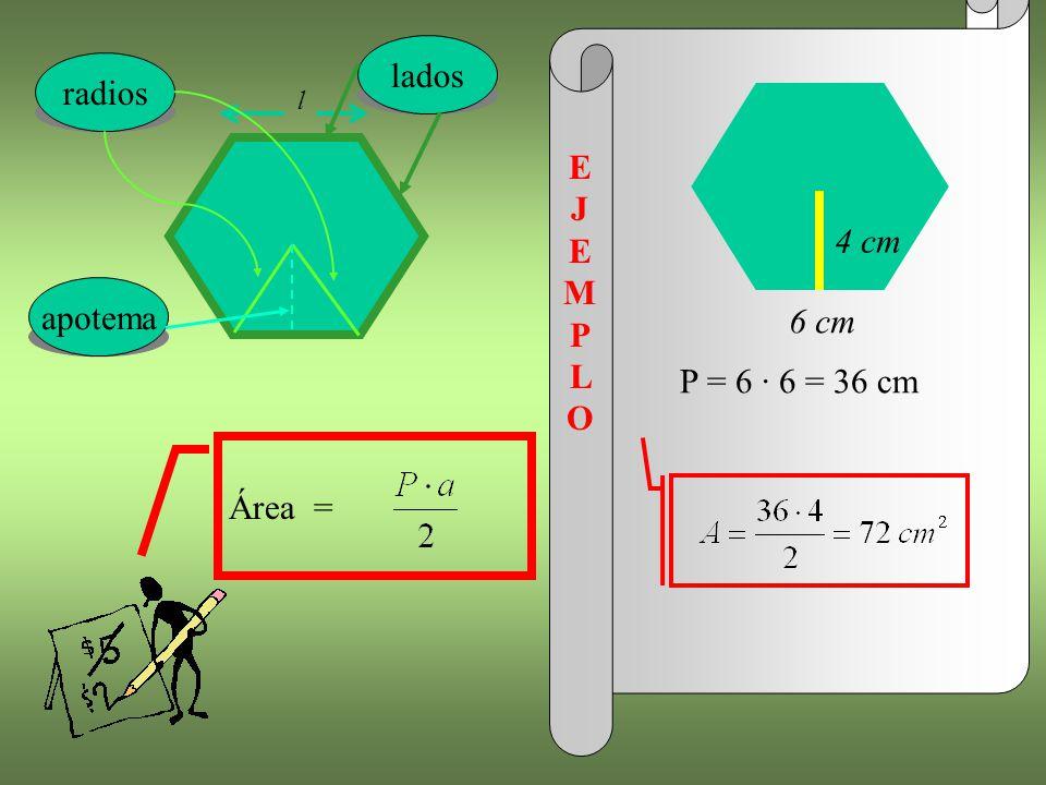 l lados radios 6 cm 4 cm E J E MP L O apotema P = 6 · 6 = 36 cm Área =