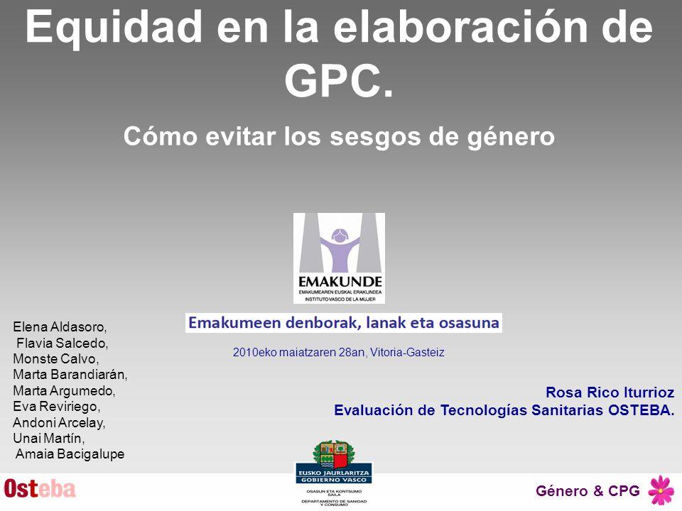 Equidad en la elaboración de GPC.