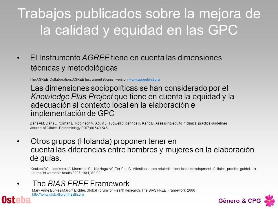 Trabajos publicados sobre la mejora de la calidad y equidad en las GPC