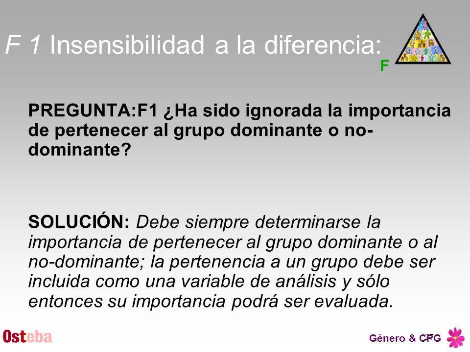 F 1 Insensibilidad a la diferencia: