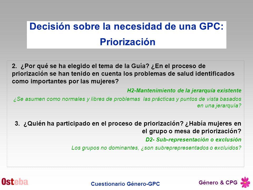 Decisión sobre la necesidad de una GPC: Cuestionario Género-GPC