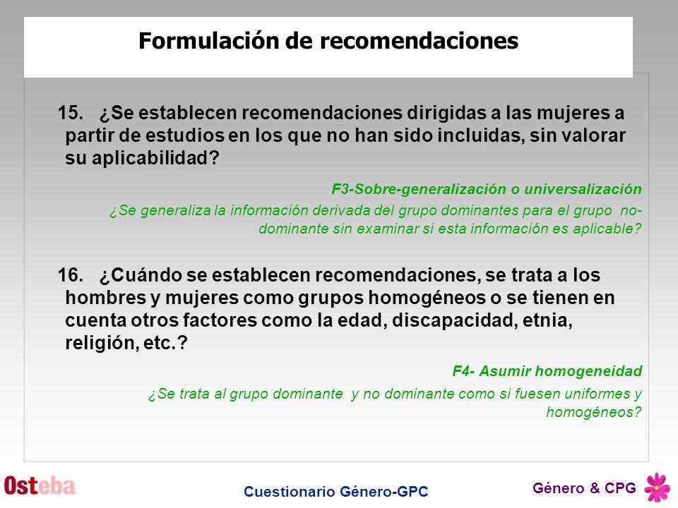 Formulación de recomendaciones Cuestionario Género-GPC