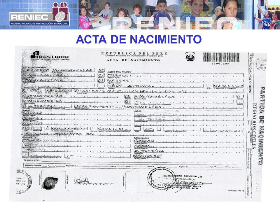 ACTA DE NACIMIENTO