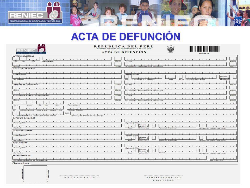 ACTA DE DEFUNCIÓN
