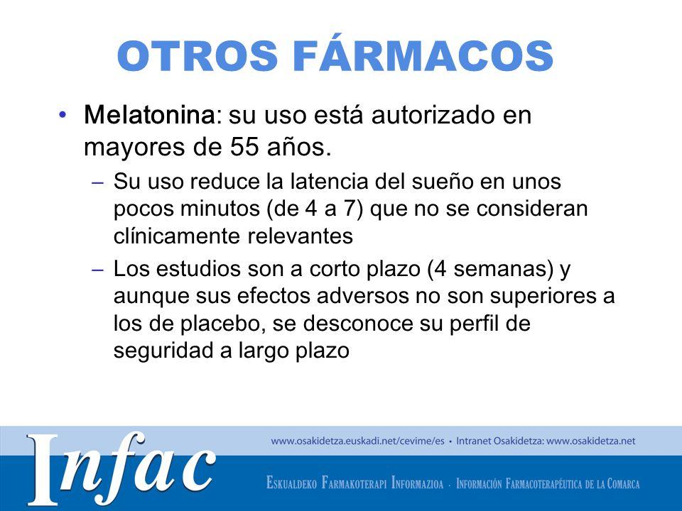 OTROS FÁRMACOS Melatonina: su uso está autorizado en mayores de 55 años.