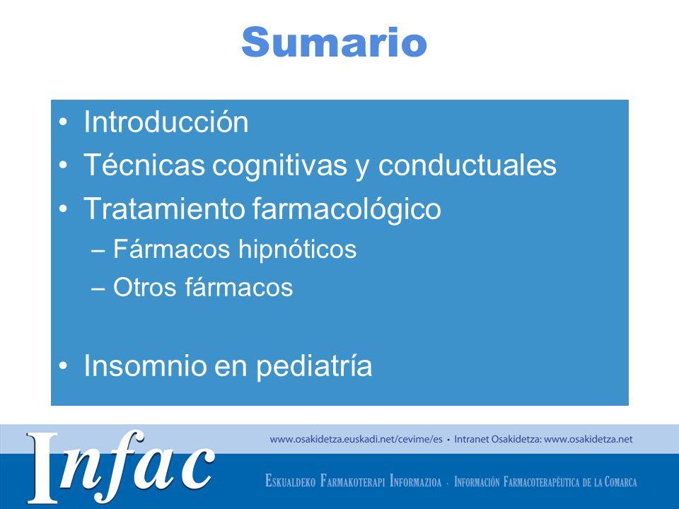 Sumario Introducción Técnicas cognitivas y conductuales