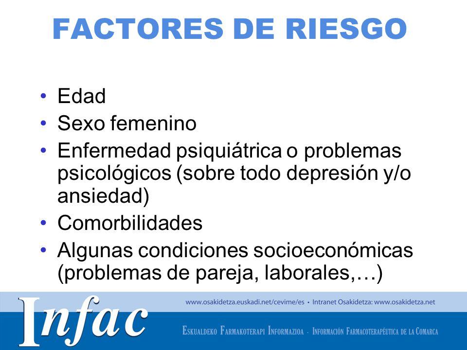 FACTORES DE RIESGO Edad Sexo femenino