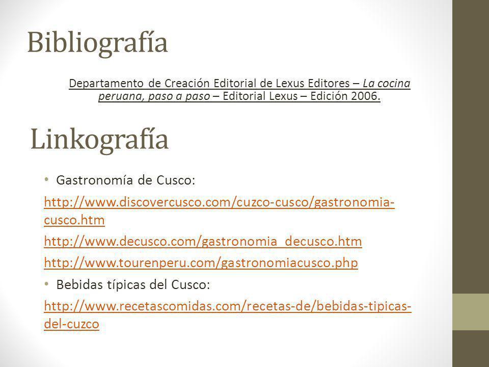 Bibliografía Linkografía Gastronomía de Cusco: