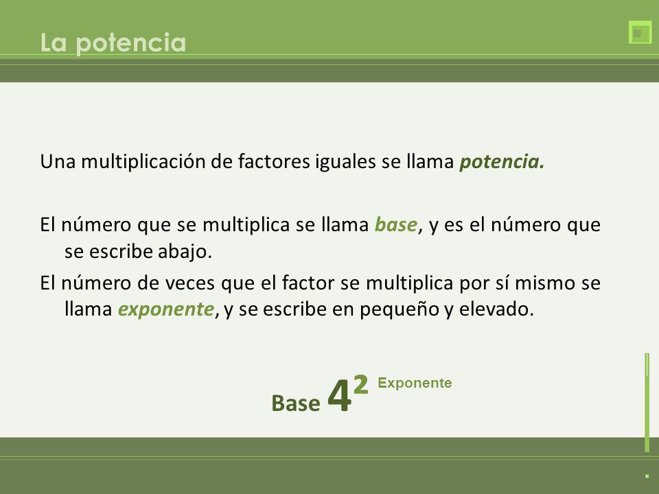 La potencia Una multiplicación de factores iguales se llama potencia.