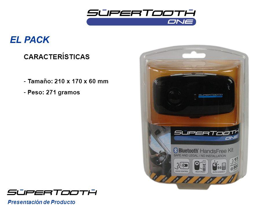 EL PACK CARACTERÍSTICAS Tamaño: 210 x 170 x 60 mm Peso: 271 gramos
