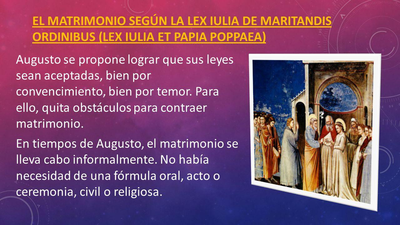 EL MATRIMONIO SEGÚN LA LEX IULIA DE MARITANDIS