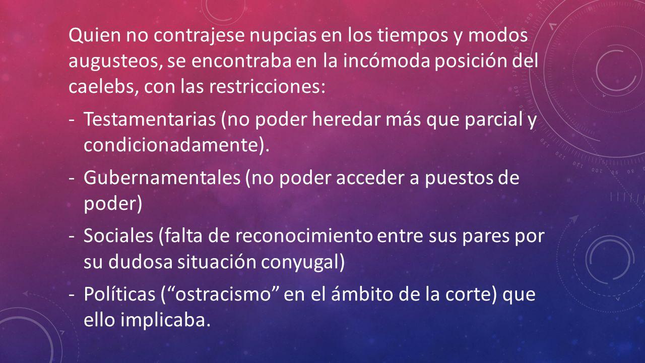 Quien no contrajese nupcias en los tiempos y modos augusteos, se encontraba en la incómoda posición del caelebs, con las restricciones: