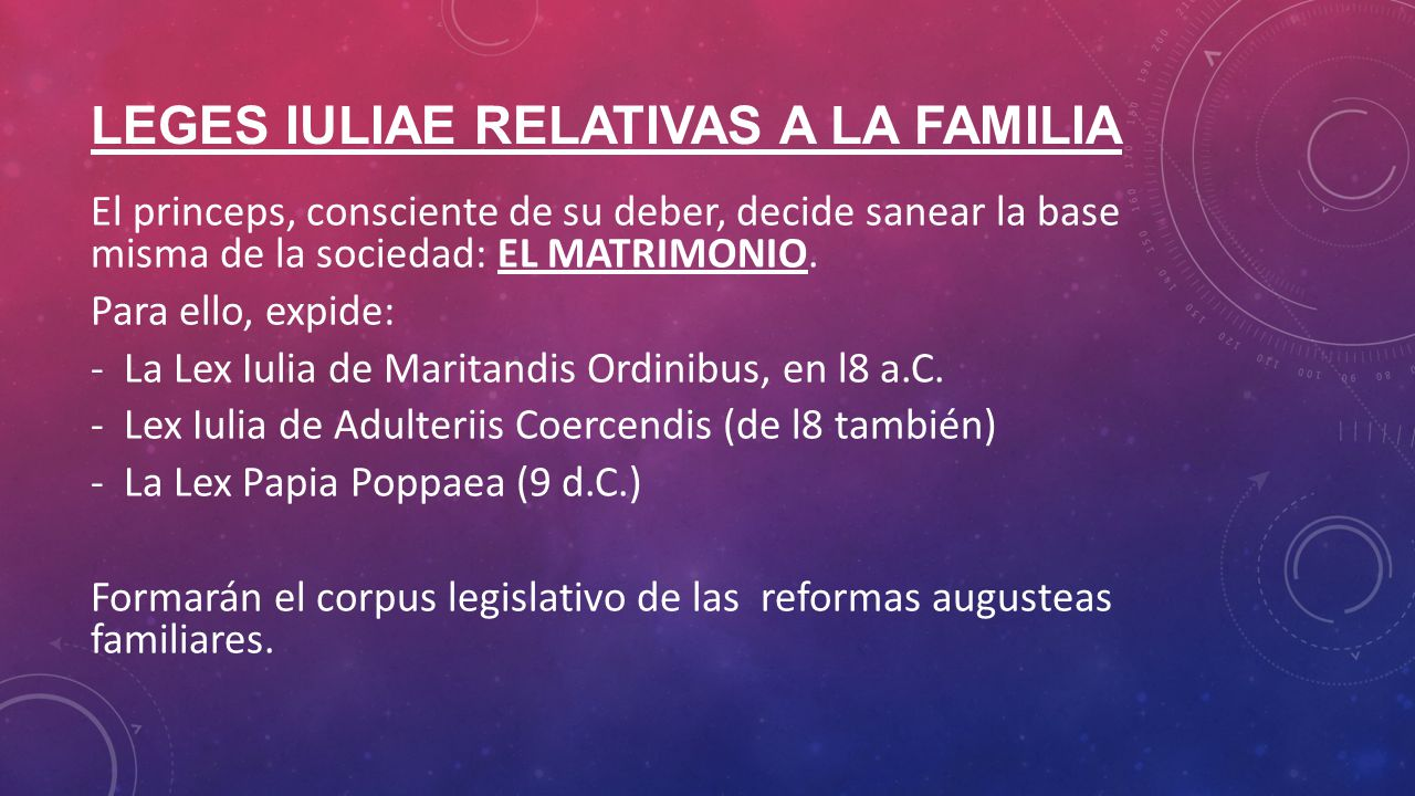 LEGES IULIAE RELATIVAS A LA FAMILIA
