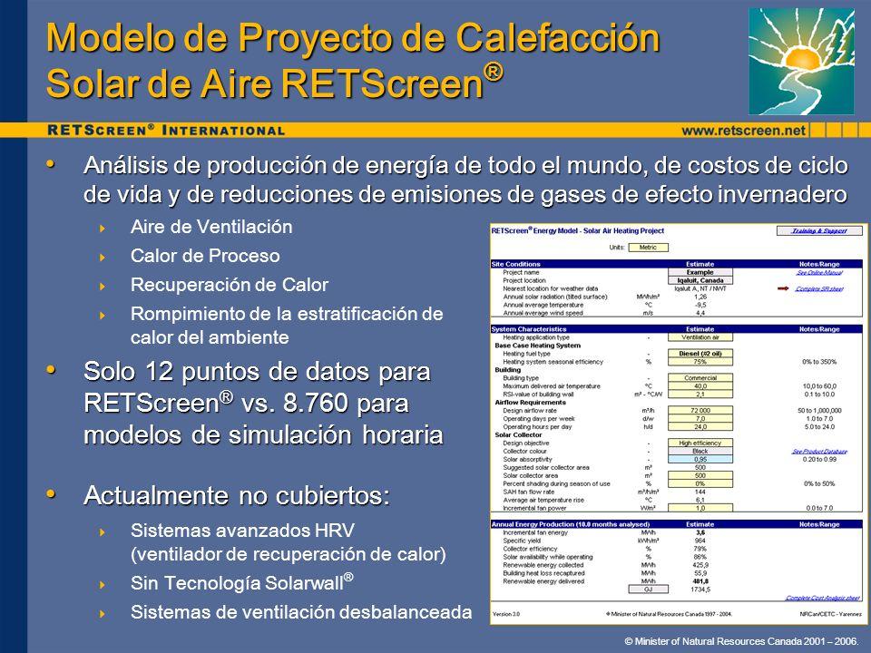 Modelo de Proyecto de Calefacción Solar de Aire RETScreen®