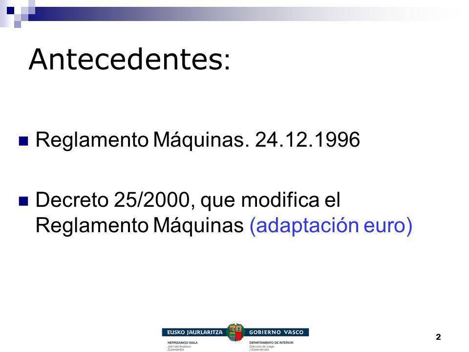 Antecedentes: Reglamento Máquinas. 24.12.1996