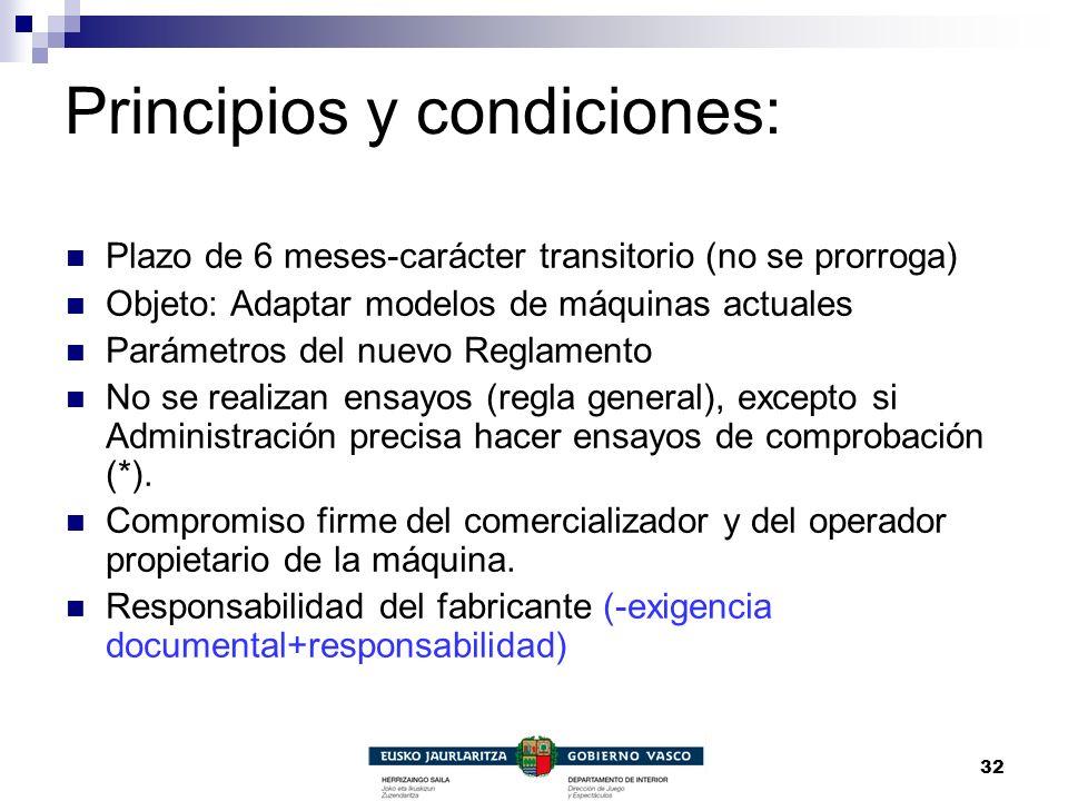 Principios y condiciones: