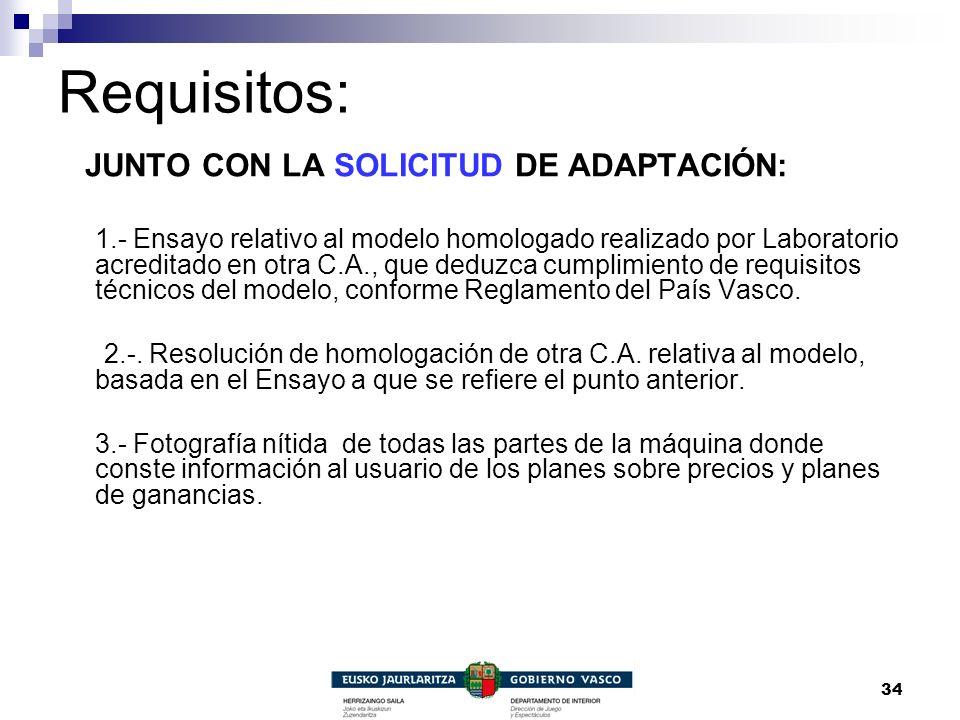 Requisitos: JUNTO CON LA SOLICITUD DE ADAPTACIÓN: