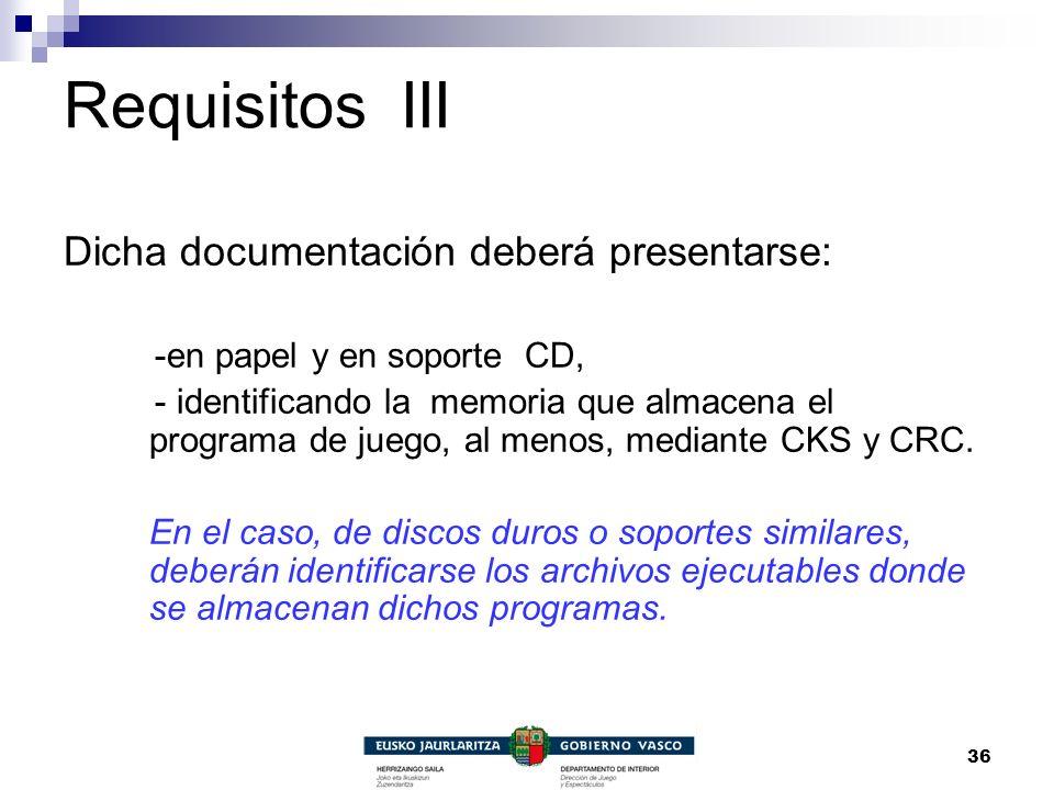 Requisitos III Dicha documentación deberá presentarse: