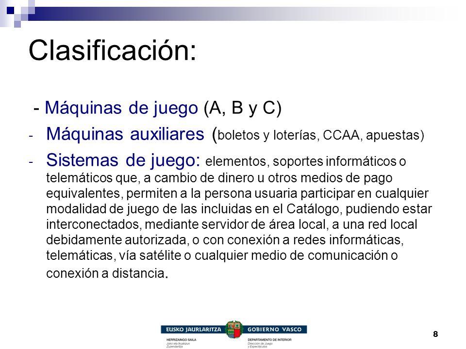 Clasificación: - Máquinas de juego (A, B y C)