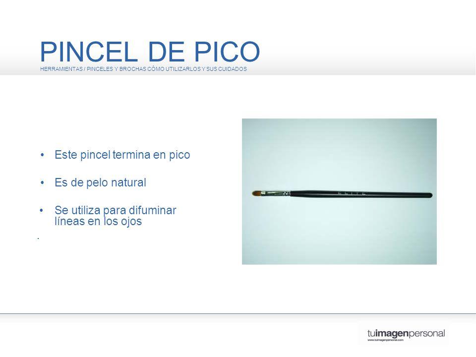 PINCEL DE PICO • Este pincel termina en pico • Es de pelo natural .