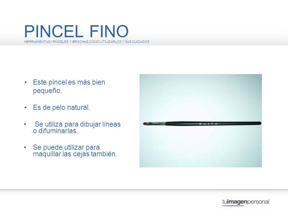 PINCEL FINO • Este pincel es más bien pequeño. • Es de pelo natural.
