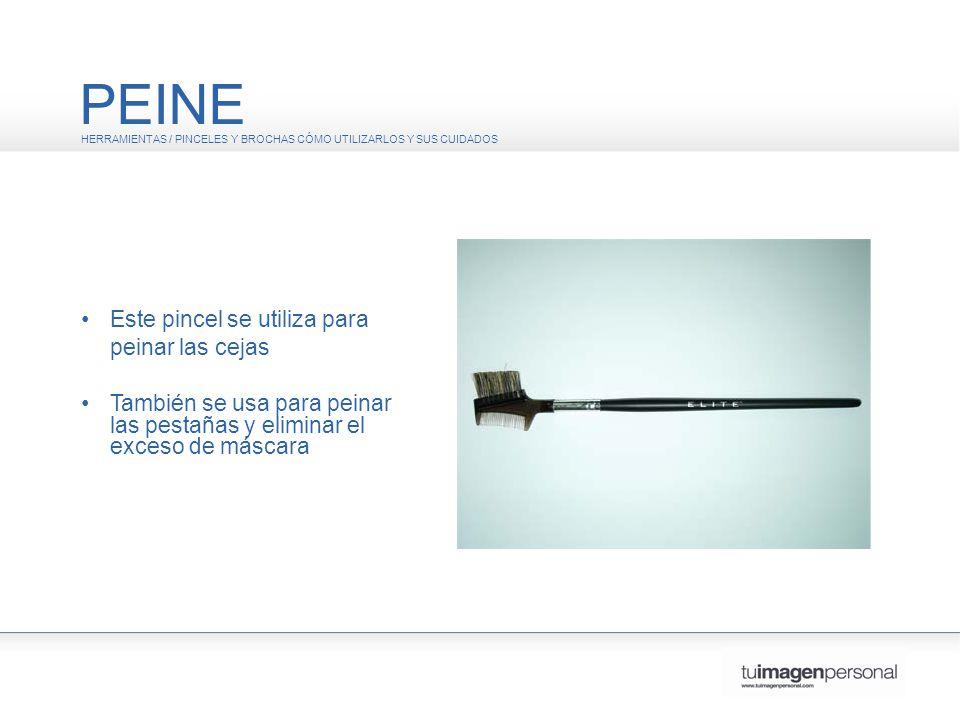 PEINE • Este pincel se utiliza para peinar las cejas