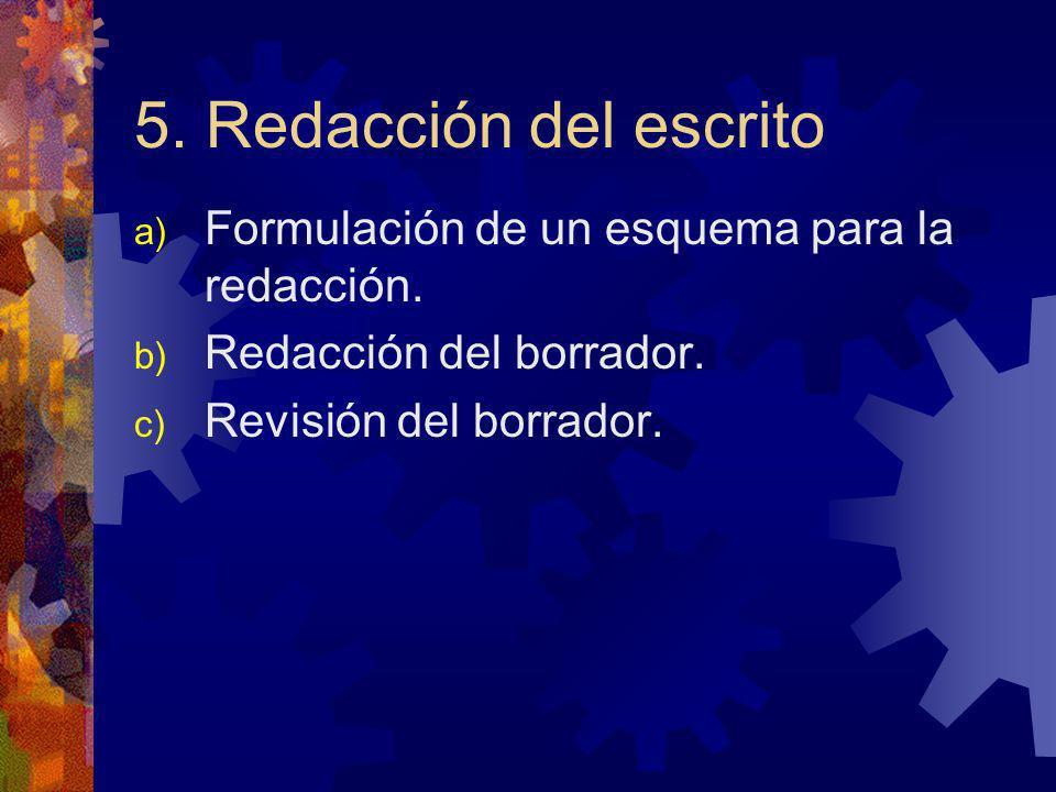 5. Redacción del escrito Formulación de un esquema para la redacción.