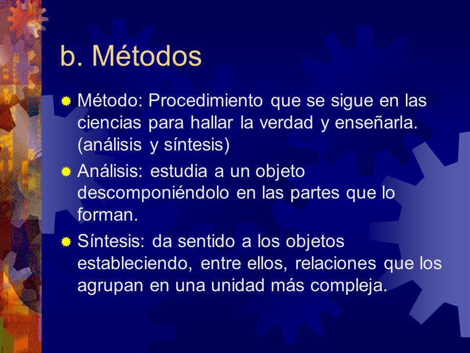 b. Métodos Método: Procedimiento que se sigue en las ciencias para hallar la verdad y enseñarla. (análisis y síntesis)