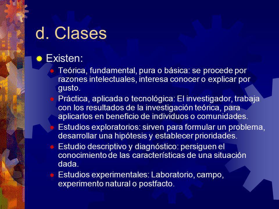 d. Clases Existen: Teórica, fundamental, pura o básica: se procede por razones intelectuales, interesa conocer o explicar por gusto.