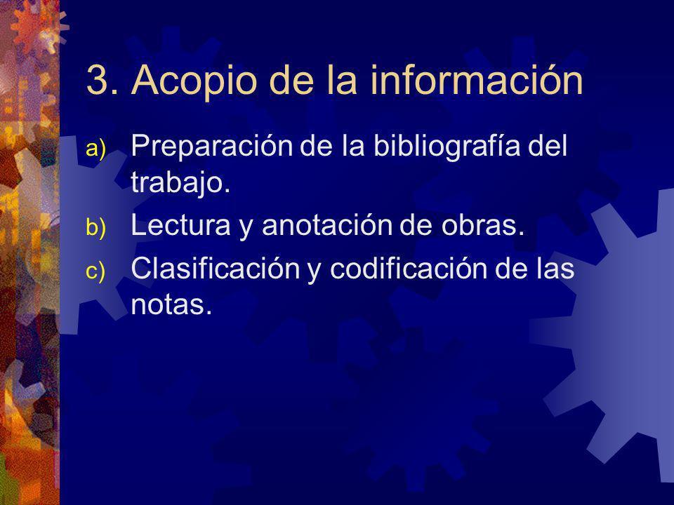 3. Acopio de la información