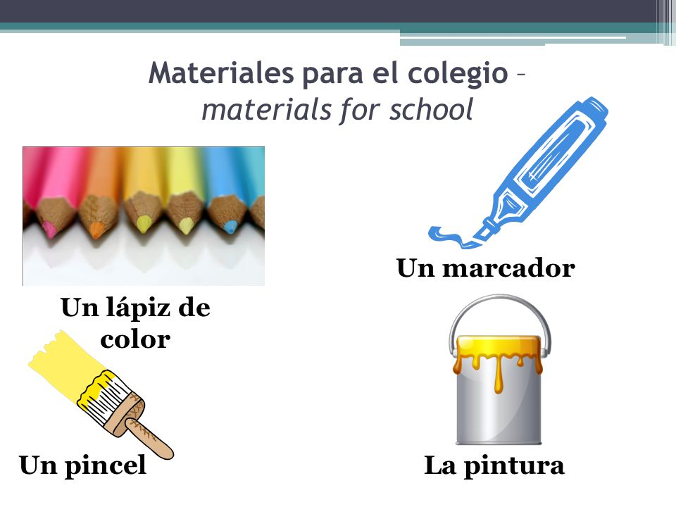 Materiales para el colegio – materials for school