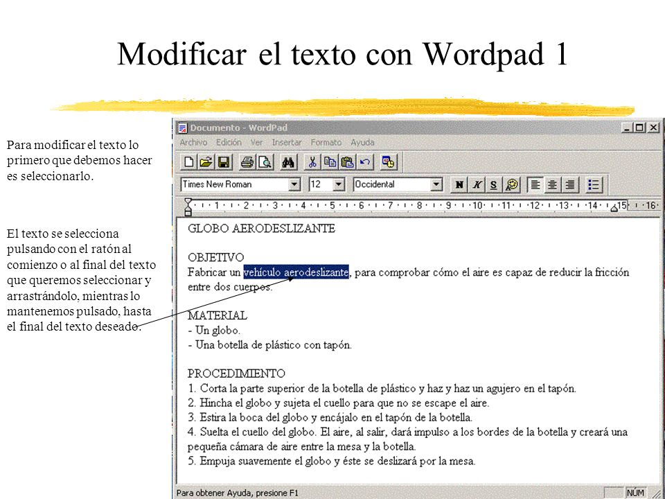 Modificar el texto con Wordpad 1