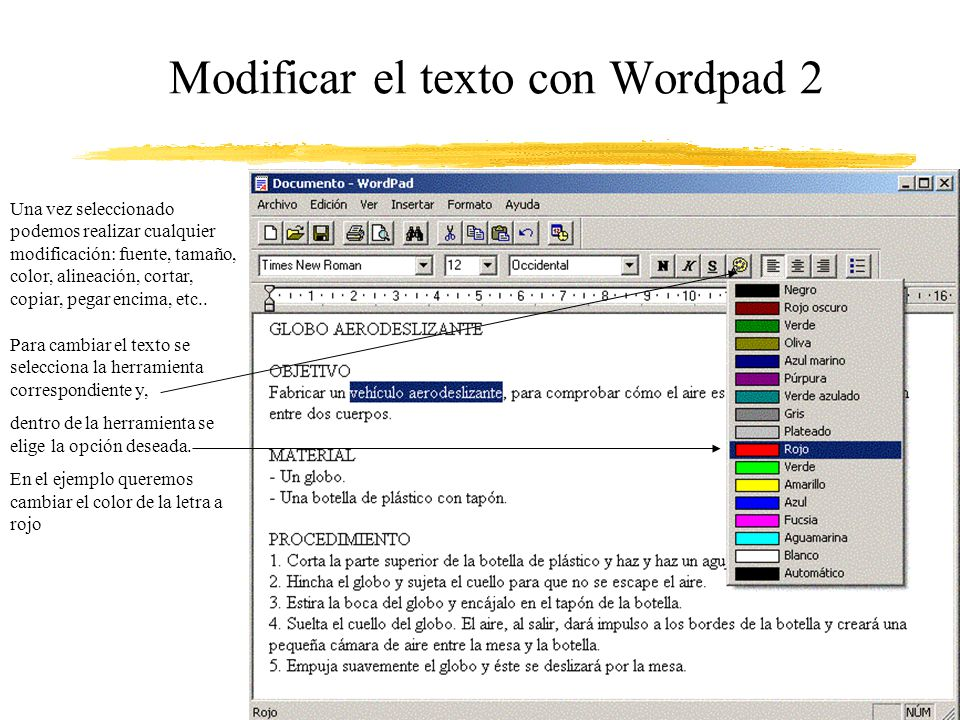 Modificar el texto con Wordpad 2