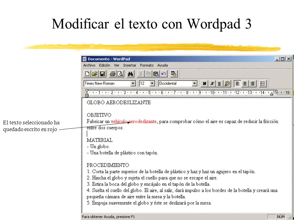 Modificar el texto con Wordpad 3