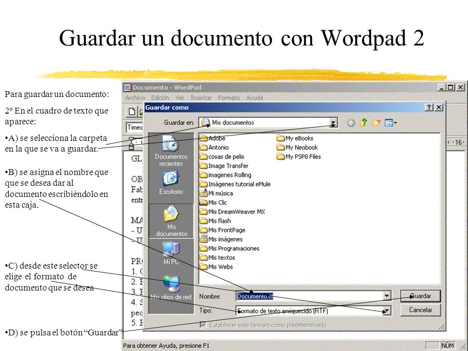 Guardar un documento con Wordpad 2