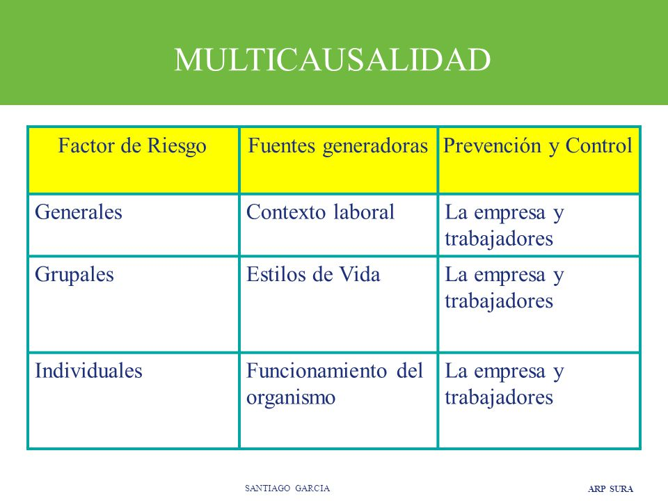 MULTICAUSALIDAD Factor de Riesgo Fuentes generadoras