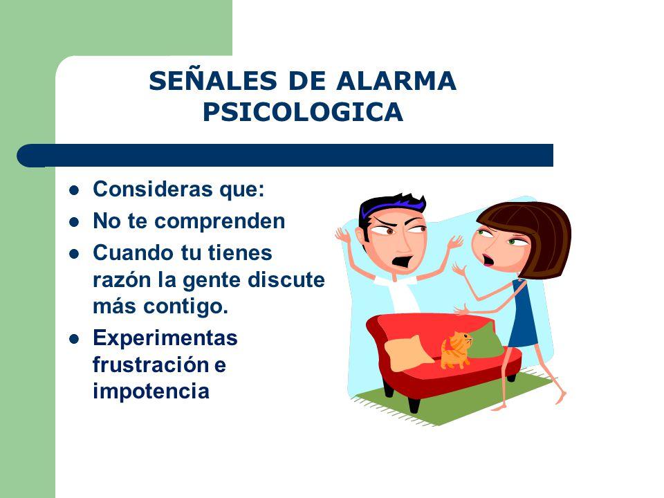 SEÑALES DE ALARMA PSICOLOGICA