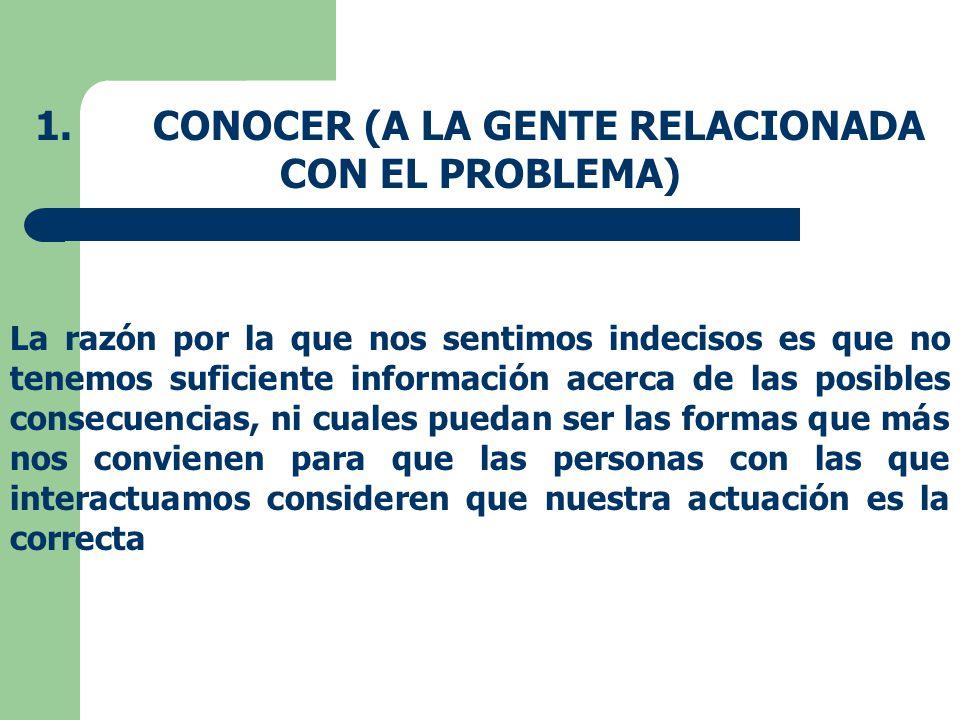 1. CONOCER (A LA GENTE RELACIONADA CON EL PROBLEMA)