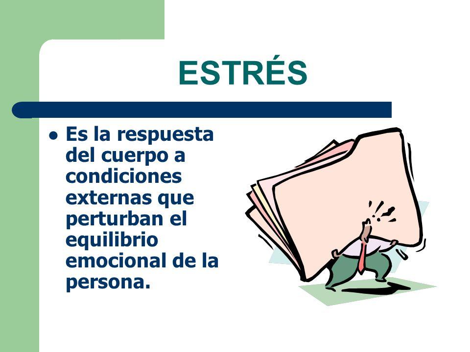 ESTRÉS Es la respuesta del cuerpo a condiciones externas que perturban el equilibrio emocional de la persona.