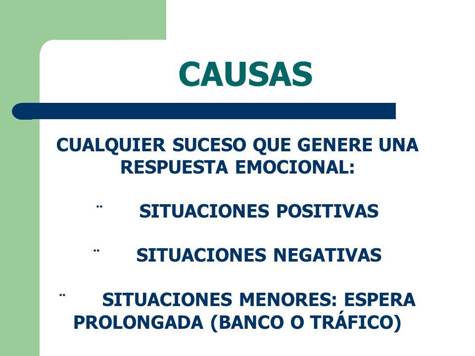 CAUSAS CUALQUIER SUCESO QUE GENERE UNA RESPUESTA EMOCIONAL: