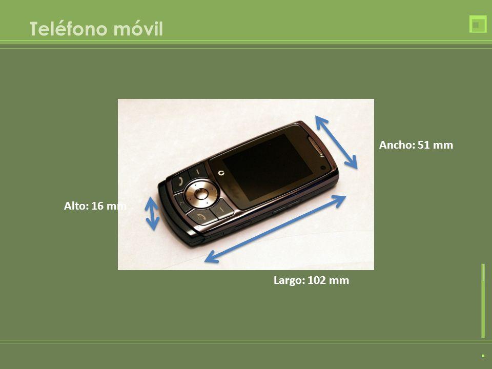 Teléfono móvil Ancho: 51 mm Alto: 16 mm Largo: 102 mm