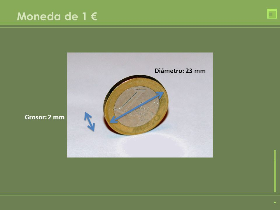 Moneda de 1 € Diámetro: 23 mm Grosor: 2 mm