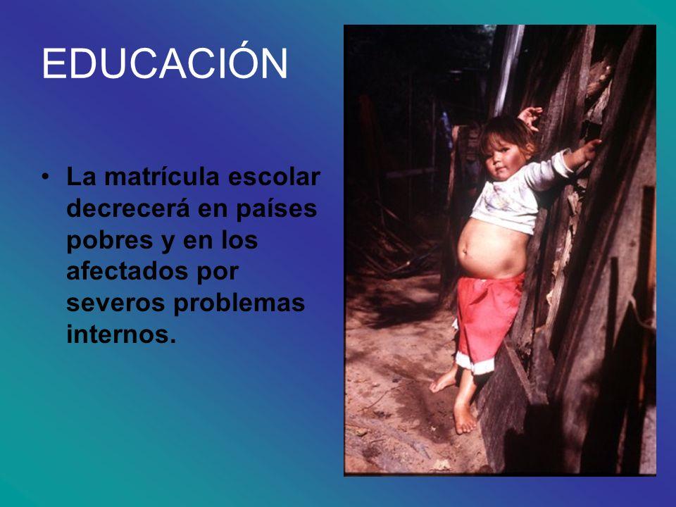 EDUCACIÓNLa matrícula escolar decrecerá en países pobres y en los afectados por severos problemas internos.