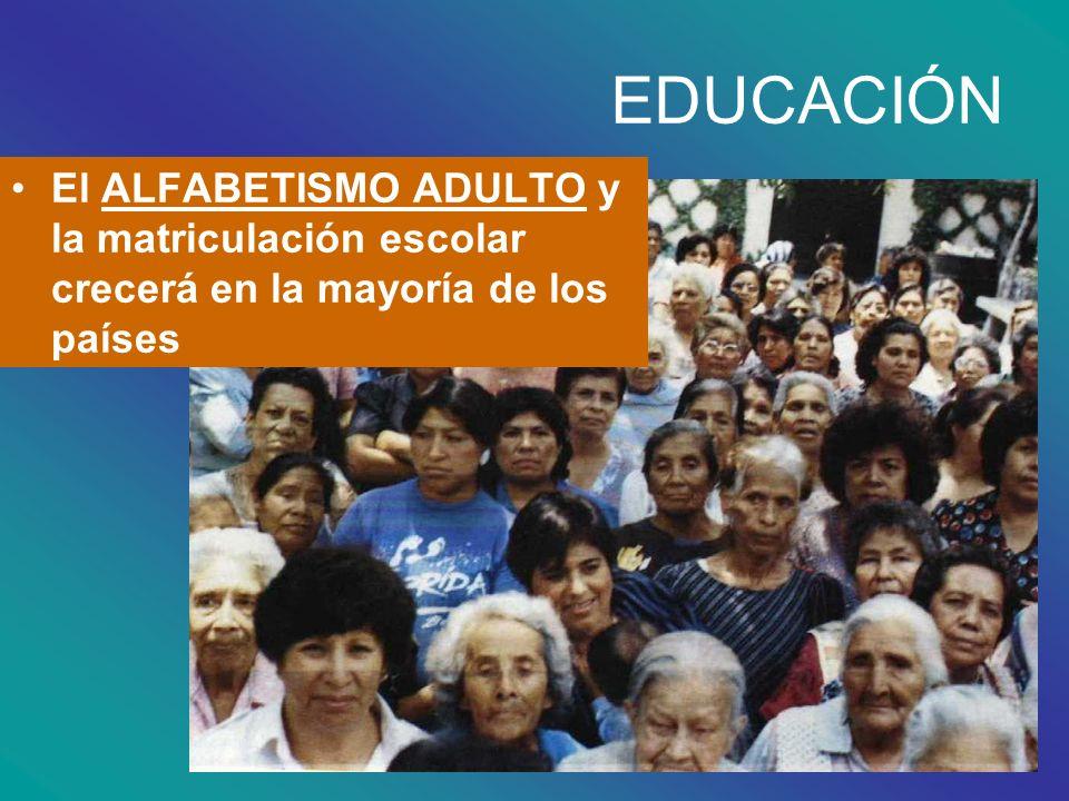 EDUCACIÓN El ALFABETISMO ADULTO y la matriculación escolar crecerá en la mayoría de los países