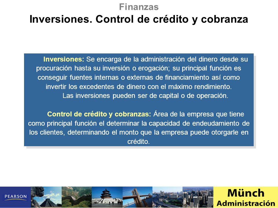 Inversiones. Control de crédito y cobranza