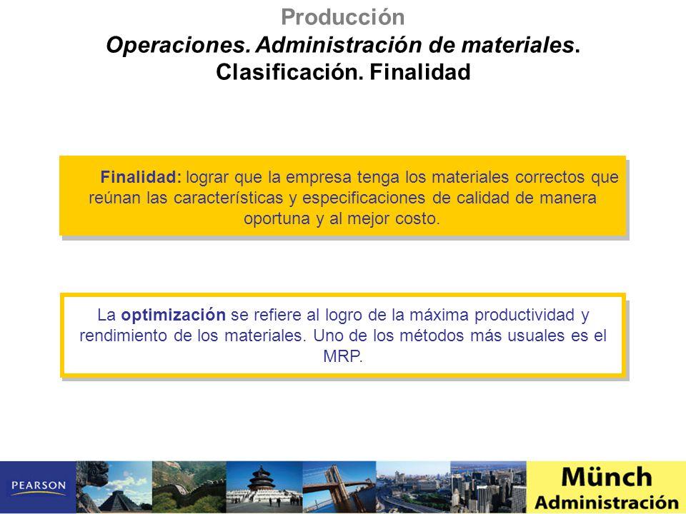 Operaciones. Administración de materiales. Clasificación. Finalidad